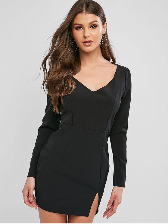 ladies V Neck Slit Solid Sheath Dress - BLACK XL