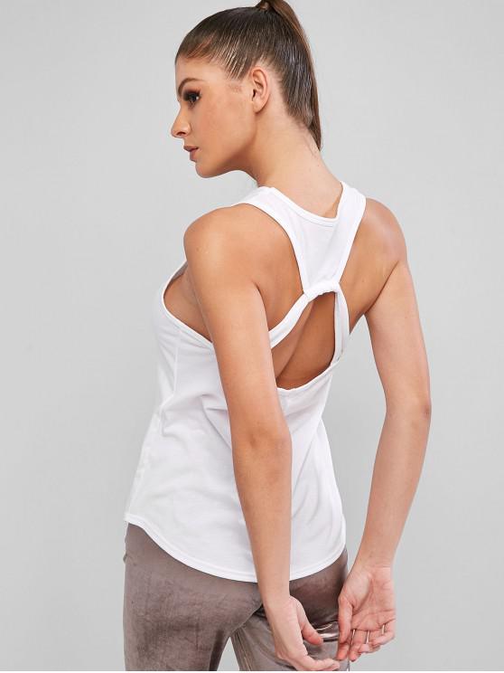 shop Cut Out Plain Gym Tank Top - WHITE L