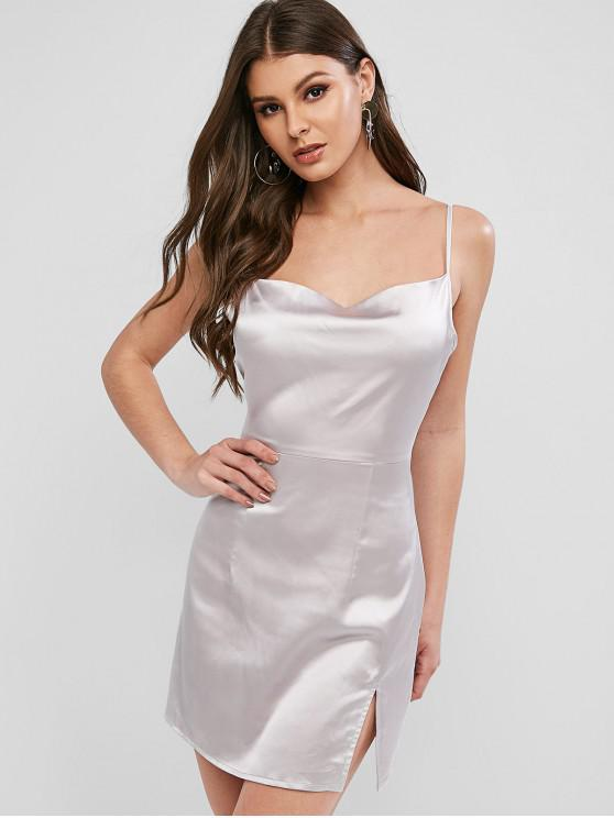 affordable ZAFUL Satin Cami Slit Mini Dress - SILVER S