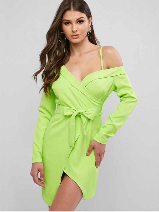 Skew colletto a maniche lunghe asimmetrico con cintura Vestito a palloncino - Verde M
