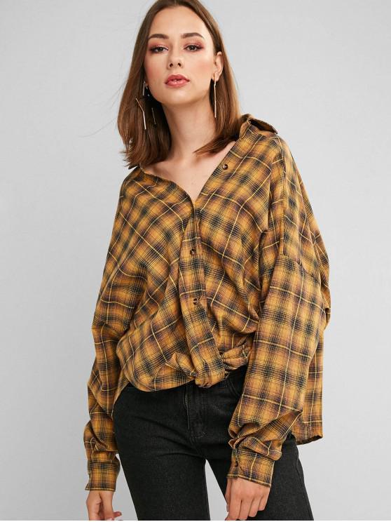 women's ZAFUL Button Down Plaid Twist Hem Shirt - ORANGE GOLD S