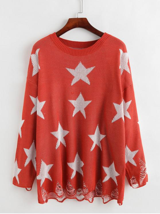 affordable Crew Neck Distressed Stars Graphic Pullover Sweater - ORANGE XL