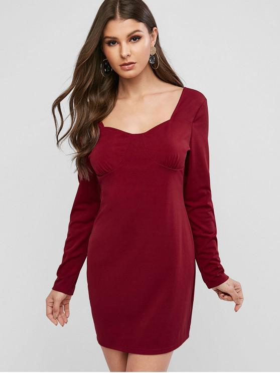 women ZAFUL Scoop Neck Solid Sheath Dress - RED WINE L
