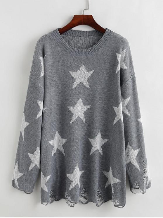 ladies Crew Neck Distressed Stars Graphic Pullover Sweater - DARK GRAY M