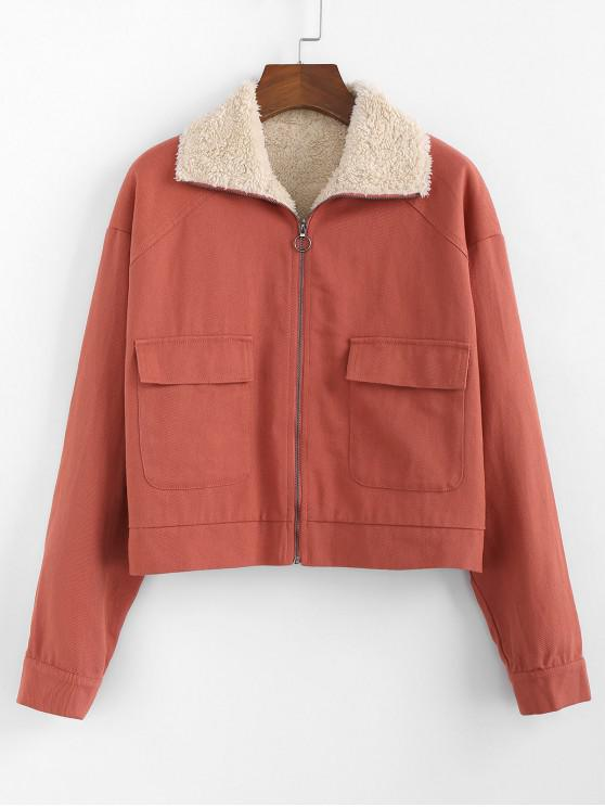 ZAFUL Fluffy foderato tasca della falda Zip Jacket - Ruggine XL