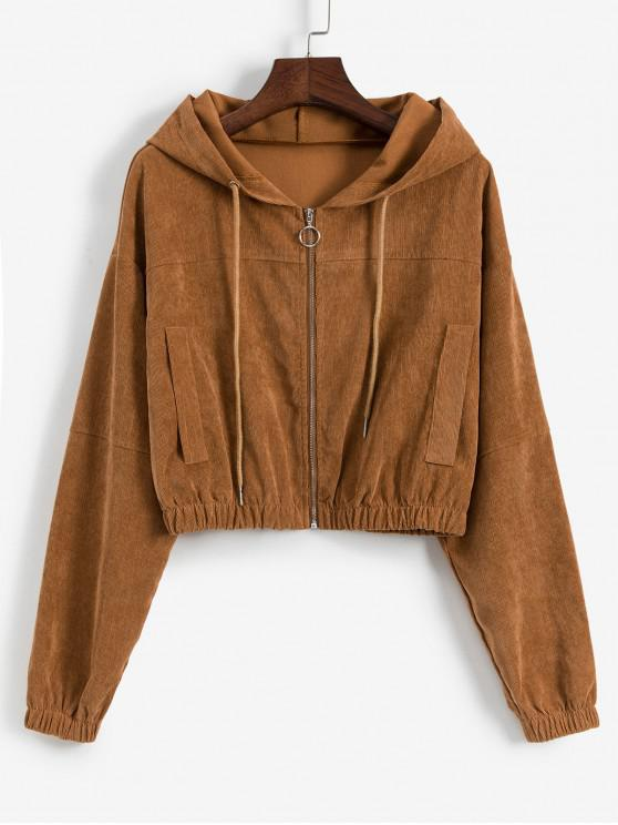 women Faux Pockets Corduroy Crop Hooded Jacket - LIGHT BROWN S