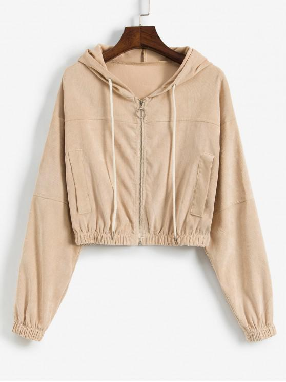 buy Faux Pockets Corduroy Crop Hooded Jacket - APRICOT L