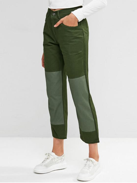 hot Two Tone Zip Fly Pocket Chino Pants - ARMY GREEN L