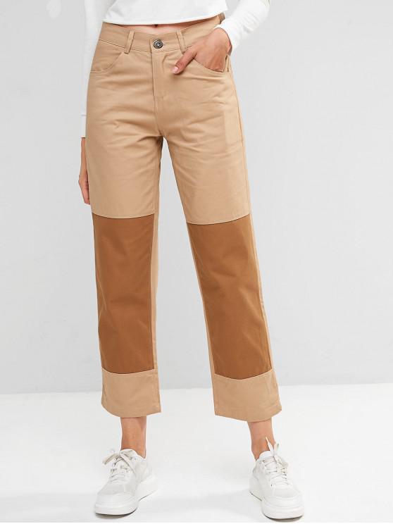 women's Two Tone Zip Fly Pocket Chino Pants - LIGHT KHAKI XL