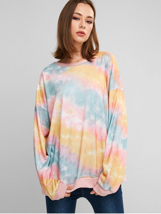 La camiseta de hombro del tinte del lazo del palangre gota - Multicolor Talla única