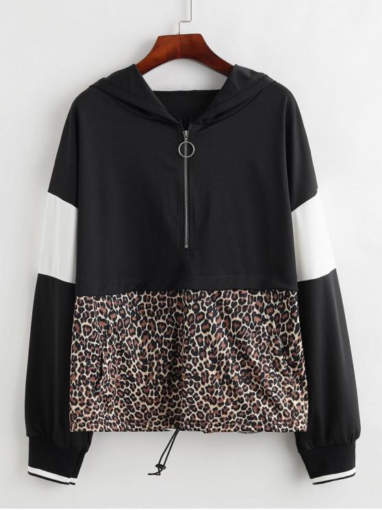 fashion Toggle Drawstring Half Zip Colorblock Leopard Hoodie - MULTI S