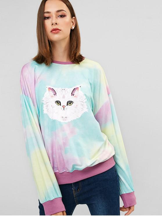 new Cat Tie Dye Drop Shoulder Longline Sweatshirt - MULTI-B ONE SIZE