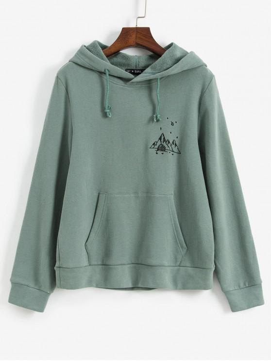womens ZAFUL Embroidered Fleece Lined Kangaroo Pocket Hoodie - LIGHT GREEN L