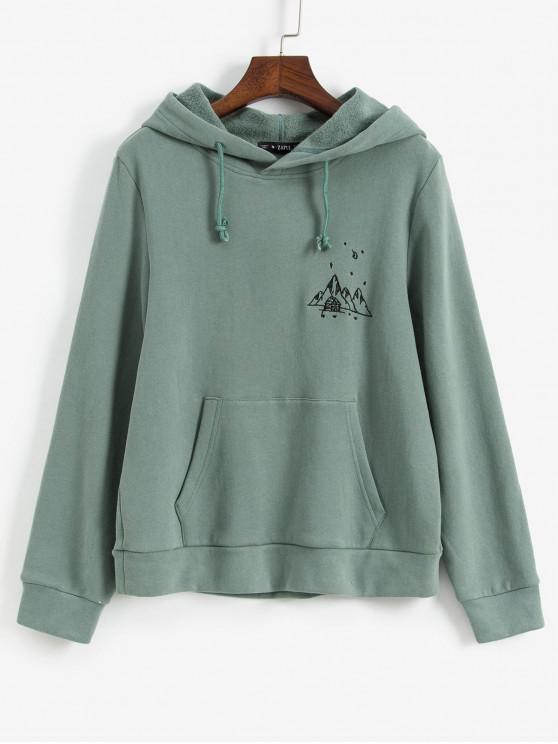 womens ZAFUL Embroidered Fleece Lined Kangaroo Pocket Hoodie - LIGHT GREEN XL