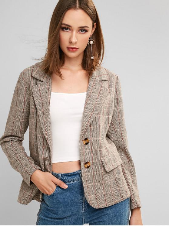 ZAFUL Plaid risvolto a due pulsanti Tweed Blazer - Rovere Brown XL