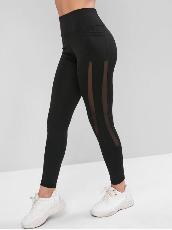 women Side Pockets Mesh Insert High Waisted Leggings - BLACK L