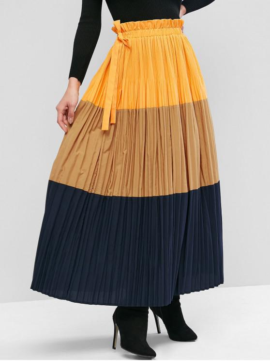 womens ZAFUL Colorblock Pleated Knotted Paperbag Skirt - MULTI L
