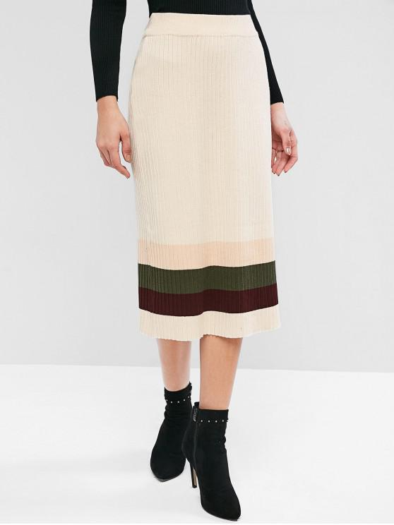 women's Colorblock Knitted Midi Skirt - WARM WHITE ONE SIZE