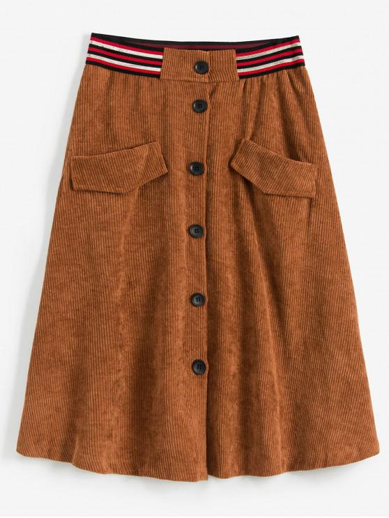 women's Button Up Pockets Corduroy Flare Skirt - BROWN L