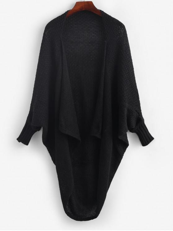 hot Batwing Sleeve Open Front Solid Cardigan - BLACK ONE SIZE