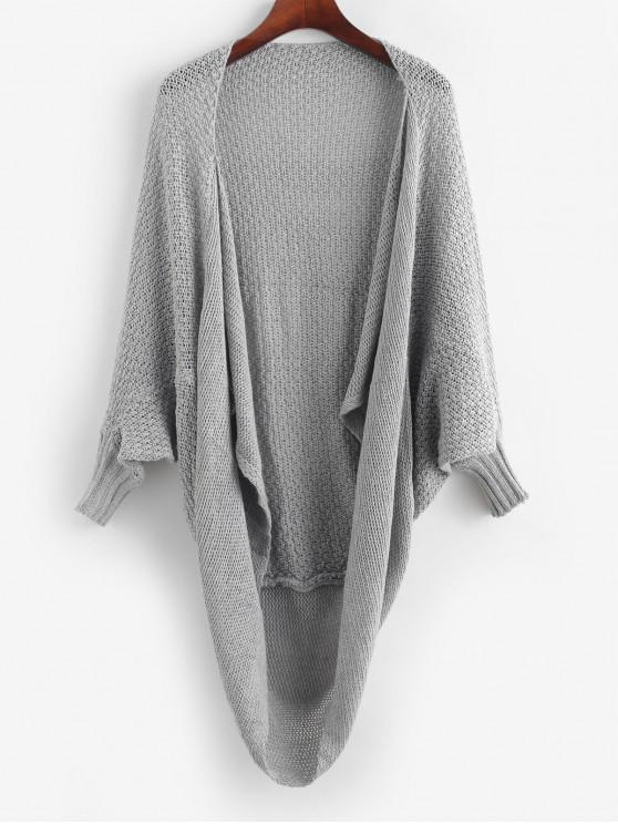 lady Batwing Sleeve Open Front Solid Cardigan - GRAY ONE SIZE