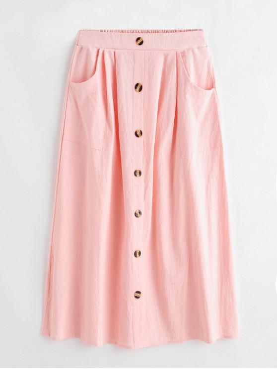 sale Mock Button Solid High Waist Flare Skirt - PINK S