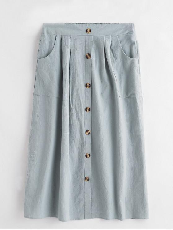 Botón simulacro sólido de alta cintura de la falda de la llamarada - Lirio Azul Claro S