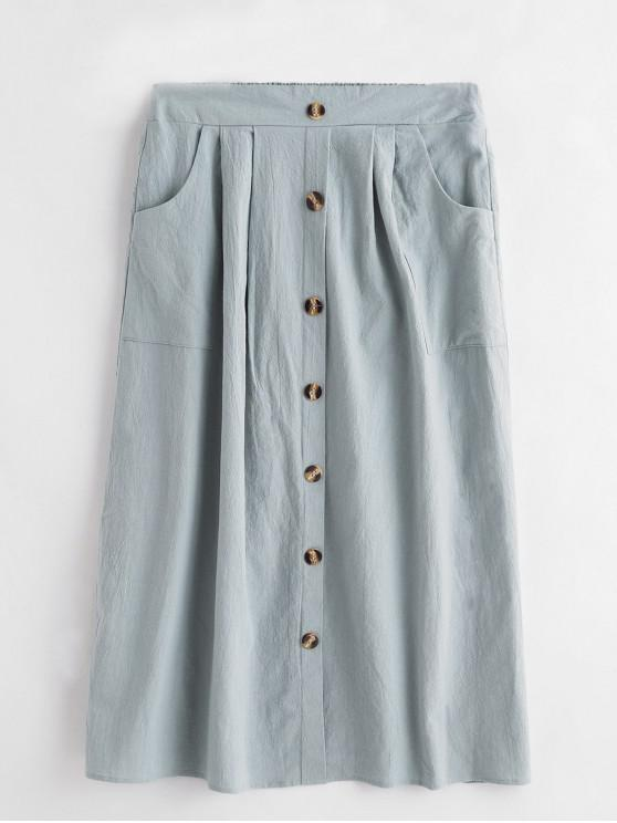 hot Mock Button Solid High Waist Flare Skirt - PALE BLUE LILY M