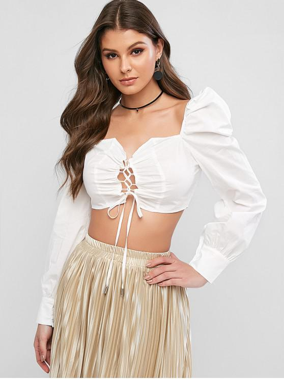 lady Lace Up Sweetheart Neck Milkmaid Crop Blouse - WHITE M