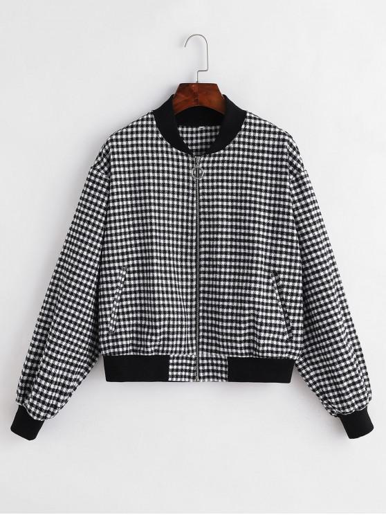 ZAFUL O-anillo de la tela escocesa Tweed Jacket - Multicolor-A S