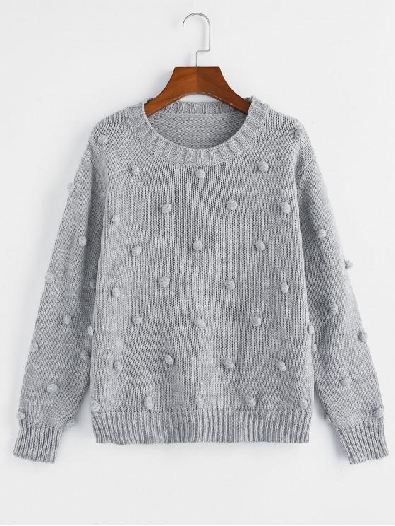 ZAFUL Pom Pom gota del hombro del puente del suéter - Ganso Gris S