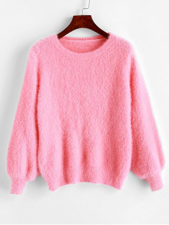 shops Crew Neck Fuzzy Knit Plain Sweater - PINK ONE SIZE