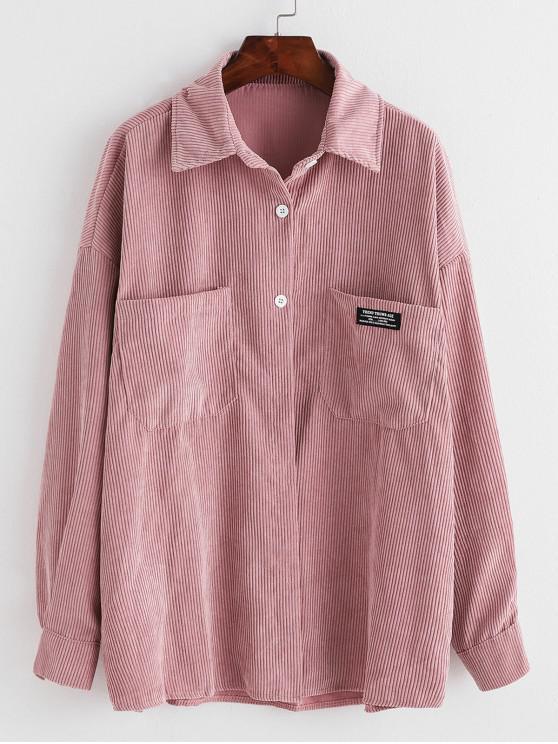 Etiqueta bolsillo delantero de gran tamaño camisa de pana - Rosado Talla única