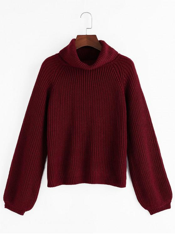 latest ZAFUL Turtleneck Raglan Sleeve Jumper Sweater - RED WINE S