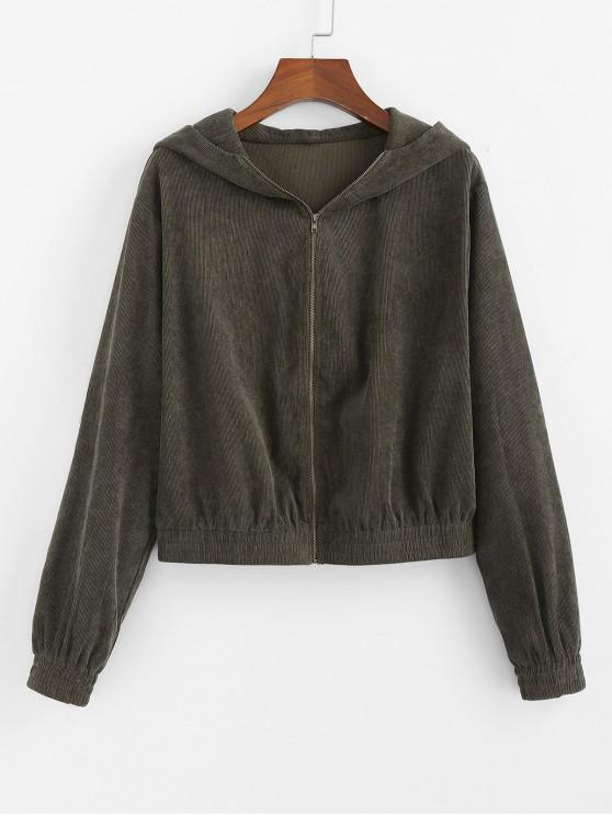 affordable ZAFUL Corduroy Hooded Drop Shoulder Jacket - ARMY GREEN S