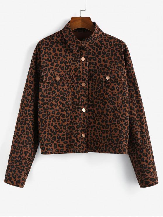 lady ZAFUL Leopard Drop Shoulder Pocket Shirt Jacket - RED DIRT M