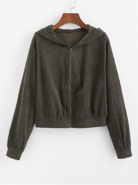 women ZAFUL Corduroy Hooded Drop Shoulder Jacket - ARMY GREEN XL