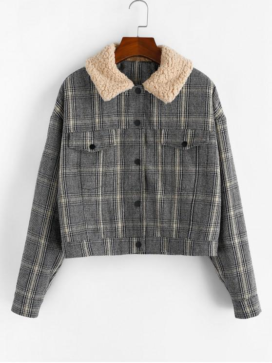 ZAFUL Plaid Fluffy Kragen Tropfen Schulter Jacke - Multi XL