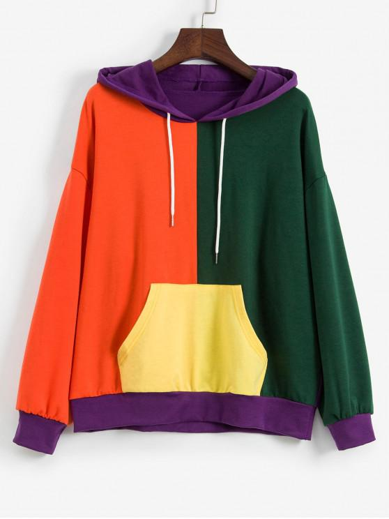 sale ZAFUL Color-blocking Kangaroo Pocket Drop Shoulder Hoodie - MULTI-A L