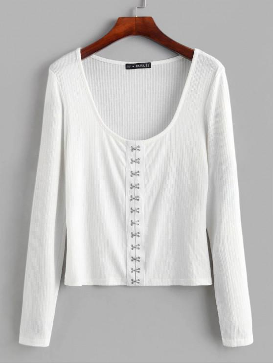 buy ZAFUL Ribbed Hook-and-Eye Knit Top - WHITE M