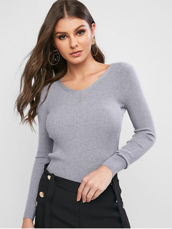 womens Ribbed Slim Knitted V Neck Sweater - GRAY CLOUD ONE SIZE