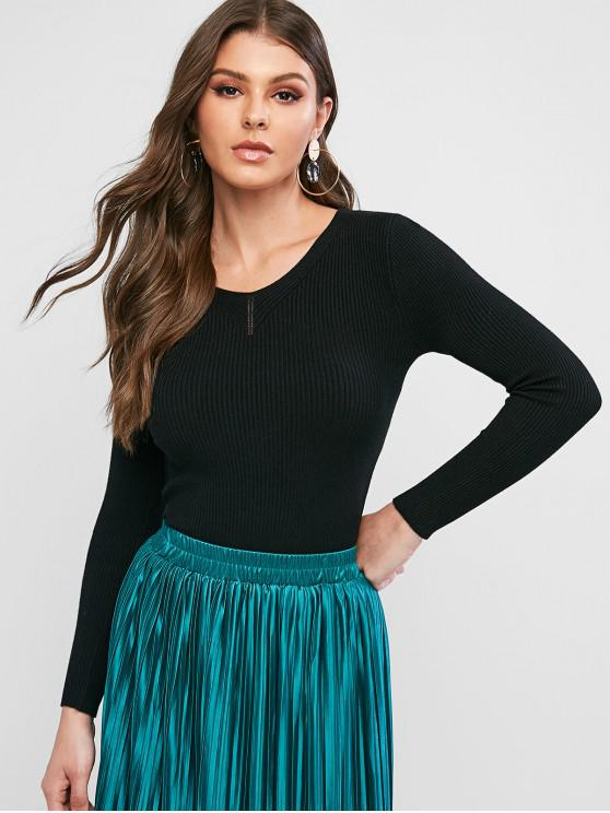 online Ribbed Slim Knitted V Neck Sweater - BLACK ONE SIZE