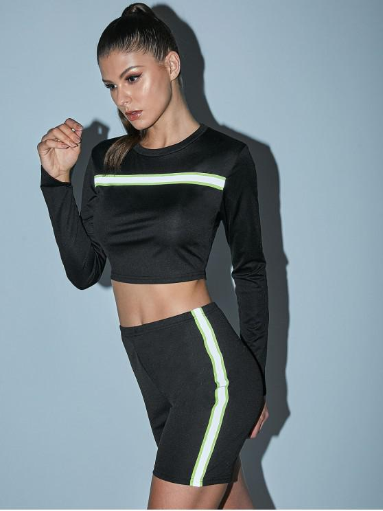 new Neon Striped Athleisure Biker Shorts Set - BLACK M