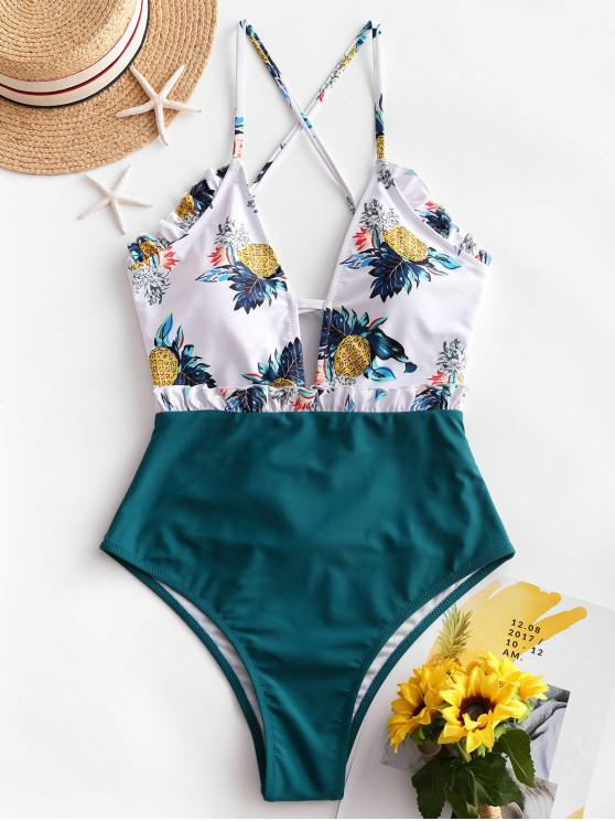 lady ZAFUL Lace-up Frilled Pineapple One-piece Swimsuit - PEACOCK BLUE XL