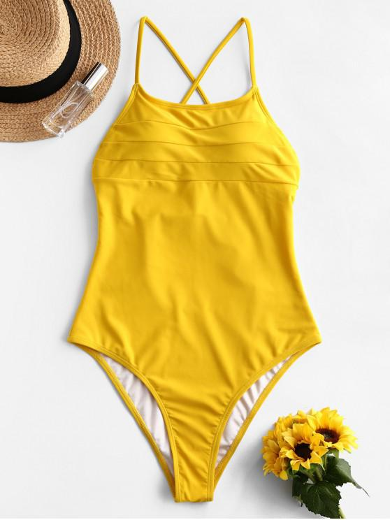 womens ZAFUL Backless Criss-cross One-piece Swimsuit - SUN YELLOW L