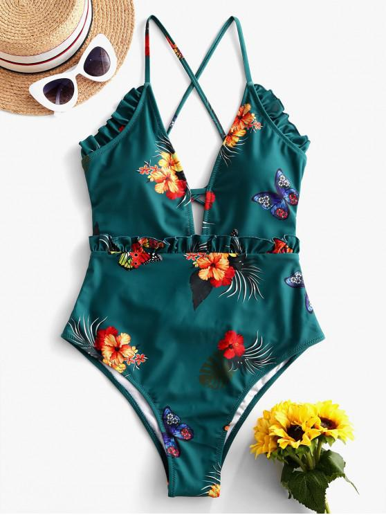 buy ZAFUL Frilled Floral Butterfly Lace-up One-piece Swimsuit - GREENISH BLUE M