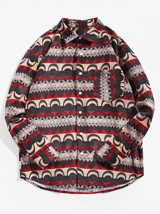 outfits Tribal Print Button Up Pocket Shirt - MULTI L