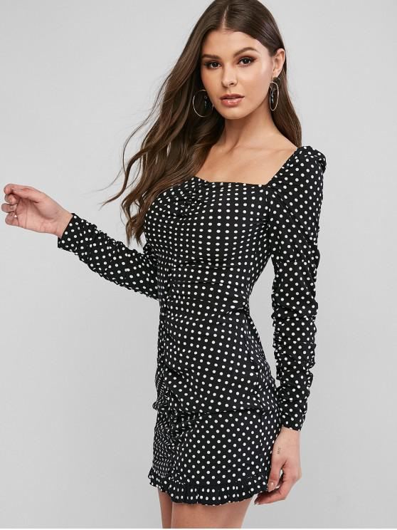 new Polka Dot Ruched Square Neck Bodycon Short Dress - BLACK M