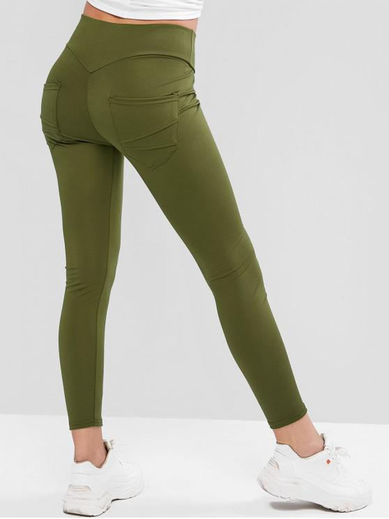 women's Back Pocket High Waisted Ninth Leggings - FERN GREEN XL