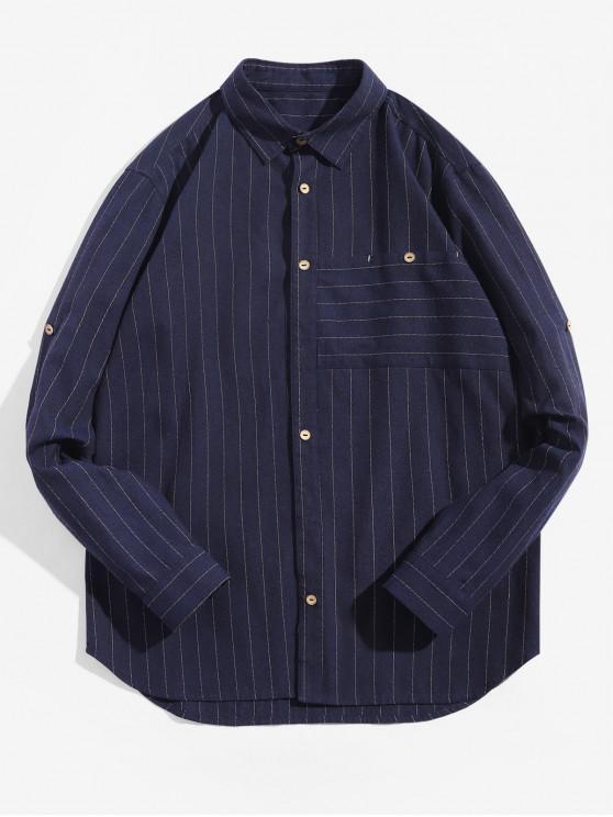 womens Striped Pattern Button Up Full Sleeves Shirt - DEEP BLUE L